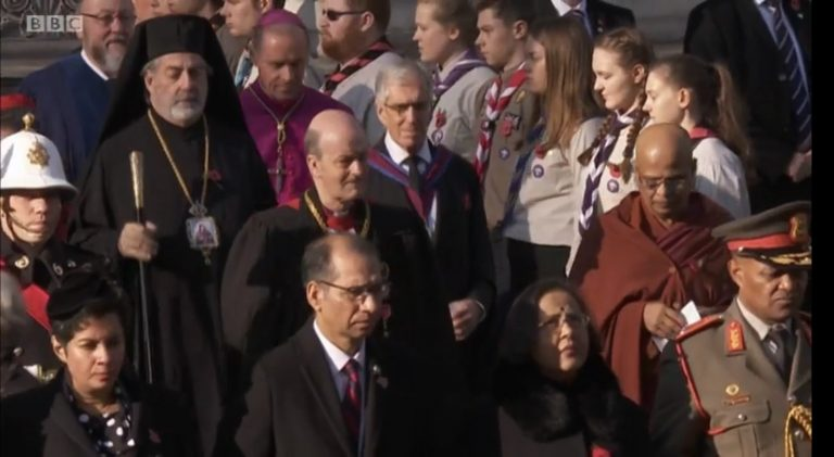 His Eminence Archbishop Nikitas attended the Remembrance Sunday service at the Cenotaph in Whitehall