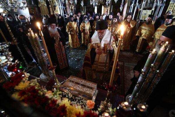 Con-celebratory wake, litany of Holy Cincture of the Theotokos on Mt. Athos