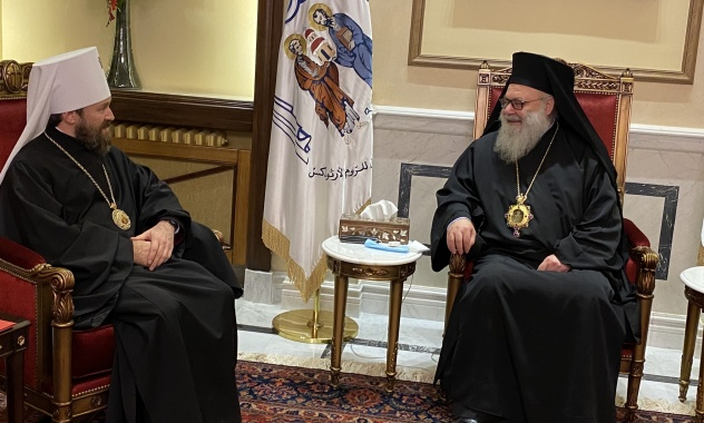 Patriarch of Antioch John X receives Russian Church's Metropolitan of Volokolamsk in Damascus